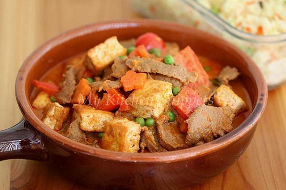 Thai Panang Curry with Beef and Tofu recipe by My Kitchen Snippets